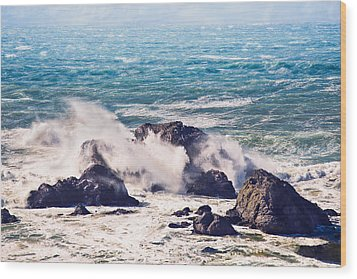 Wood Print featuring the photograph Crashing Waves by Kim Wilson