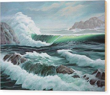 Crashing Waves Wood Print by Lorraine Foster