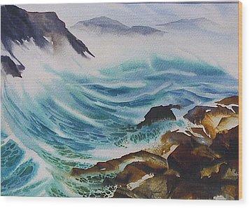 Crashing-waves Wood Print by Nancy Newman
