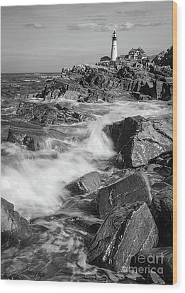 Crashing Waves, Portland Head Light, Cape Elizabeth, Maine  -5605 Wood Print