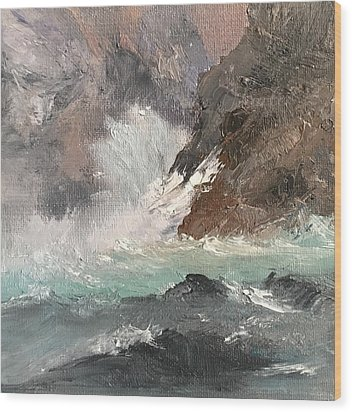Crashing Waves Seascape Art Wood Print by Michele Carter