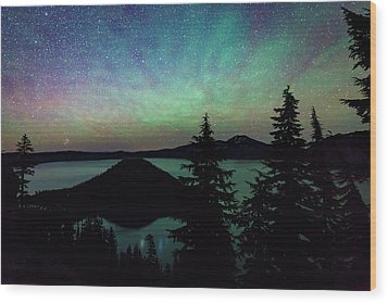 Wood Print featuring the photograph Crater Lake Airglow by Cat Connor