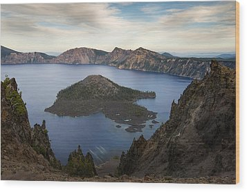 Crater Lake At Sunset Wood Print