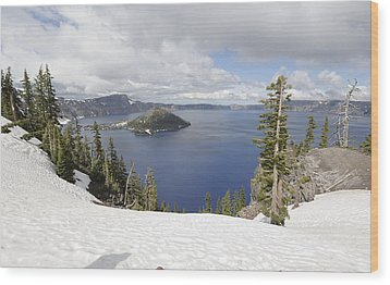 Crater Lake Cloud And Shadow Wood Print by Harold Piskiel