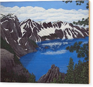 Wood Print featuring the painting Crater Lake by Frederic Kohli