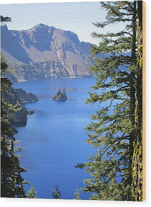 Crater Lake Ghost Ship Island Wood Print by Marie Neder
