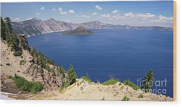 Wood Print featuring the photograph Crater Lake Klamath County Oregon Dsc5197 Panorama by Wingsdomain Art and Photography