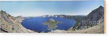 Crater Lake Panoramic Wood Print