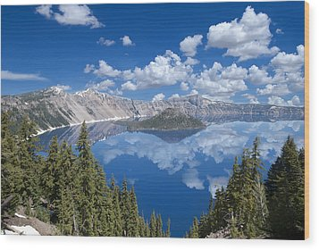 Crater Lake Reflections Wood Print by Loree Johnson