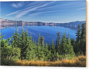 Wood Print featuring the photograph Crater Lake Rim Reflections by Frank Wilson