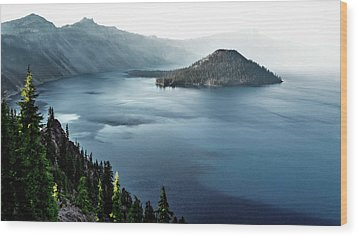 Crater Lake Under A Siege Wood Print by Eduard Moldoveanu
