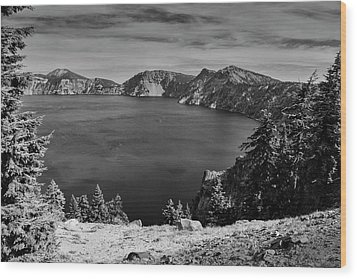 Wood Print featuring the photograph Crater Lake View In Bw by Frank Wilson