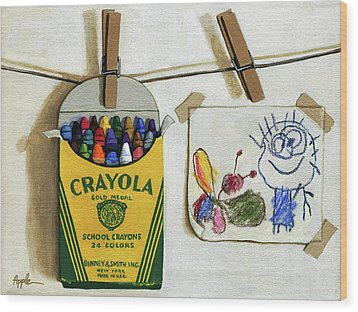 Wood Print featuring the painting Crayola Crayons And Drawing Realistic Still Life Painting by Linda Apple