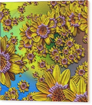 Crazy Daisies Wood Print