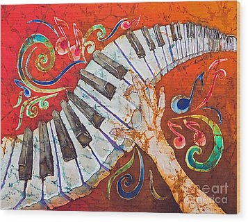 Crazy Fingers - Piano Keyboard  Wood Print by Sue Duda