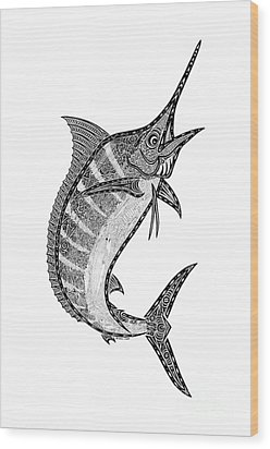 Crazy Marlin Wood Print by Carol Lynne
