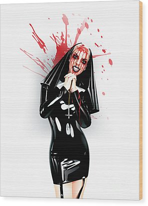 Wood Print featuring the drawing Crazy Nun by Brian Gibbs