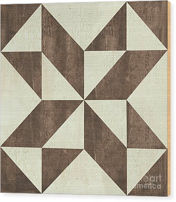 Wood Print featuring the painting Cream And Brown Quilt by Debbie DeWitt