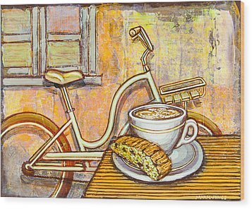 Cream Electra Town Bicycle With Cappuccino And Biscotti Wood Print by Mark Jones