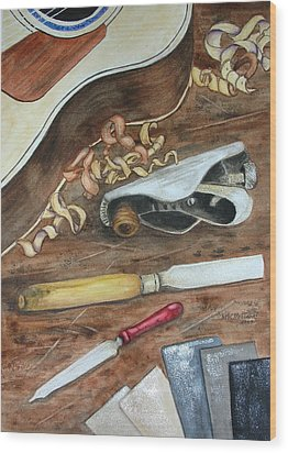 Wood Print featuring the painting Creative Process by Mary Kay Holladay