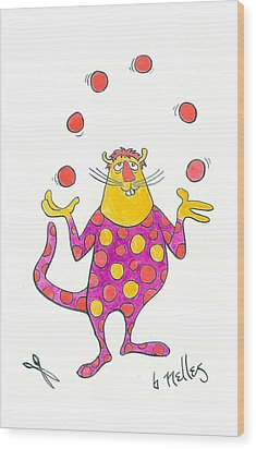 Creature Juggling Polka Dots Wood Print by Barry Nelles Art