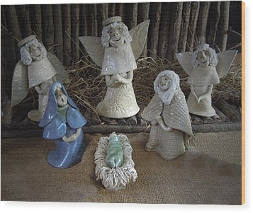 Creche Mary Joseph And Baby Jesus Wood Print by Nancy Griswold