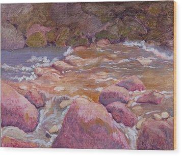 Creek In Spring Wood Print by Robert Bissett