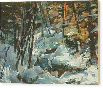 Creek In The Cold Wood Print by Claire Gagnon