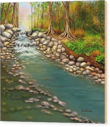 Wood Print featuring the painting Creek In The Spring by Sena Wilson