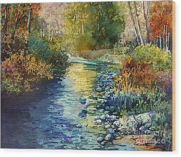 Wood Print featuring the painting Creekside Tranquility by Hailey E Herrera