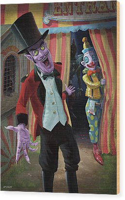 Wood Print featuring the painting Creepy Circus by Martin Davey