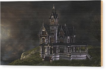 Creepy Mansion Wood Print by Marie-Pier Larocque