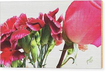Creepy-red Flowers Wood Print