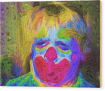 Creepy The Clown Wood Print by Deborah MacQuarrie-Haig