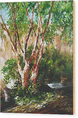 Wood Print featuring the painting crepe myrtle SOLD by Gloria Turner