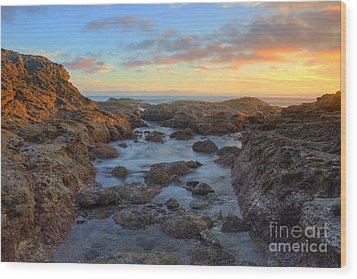 Wood Print featuring the photograph Crescent Bay Tide Pools At Sunset by Eddie Yerkish