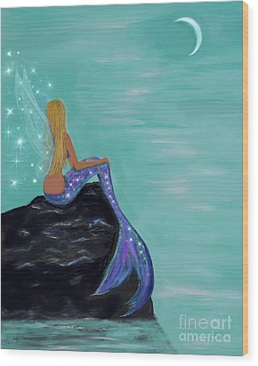 Wood Print featuring the painting Crescent Mermaid Moon Fairy by Leslie Allen
