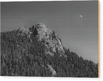Wood Print featuring the photograph Crescent Moon And Buffalo Rock by James BO Insogna