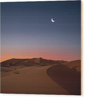 Crescent Moon Over Dunes Wood Print by Photo by John Quintero