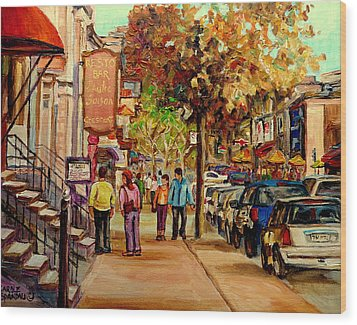 Wood Print featuring the painting Crescent Street Montreal by Carole Spandau