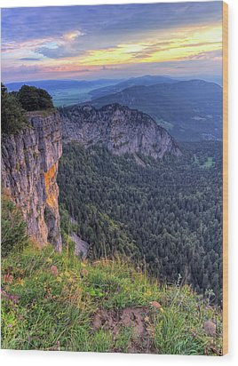 Creux-du-van Or Creux Du Van Rocky Cirque, Neuchatel Canton, Switzerland Wood Print by Elenarts - Elena Duvernay photo
