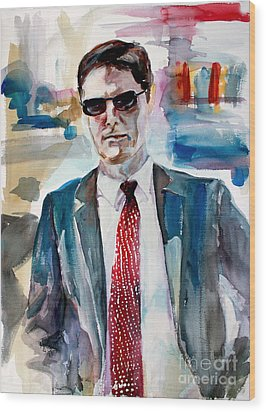 Wood Print featuring the painting Criminal Minds Aaron Hotchner The Way I See Him by Ginette Callaway