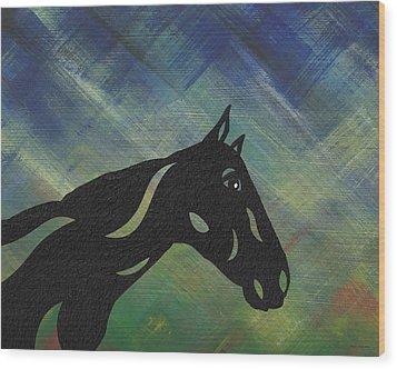 Crimson - Abstract Horse Wood Print