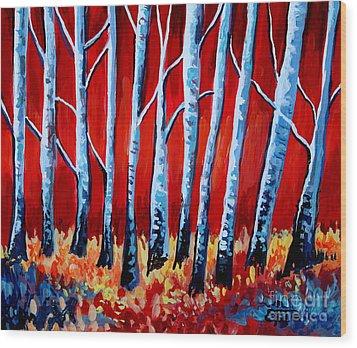 Crimson Birch Trees Wood Print by Elizabeth Robinette Tyndall
