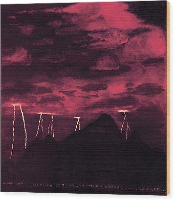 Crimson Storm Wood Print by Dawn Hay