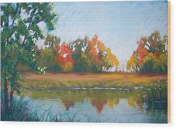 Crisp Autumn Morning Spears Woods Wood Print by Christine Camp