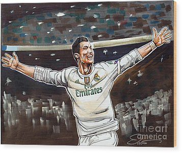 Cristiano Ronaldo Of Real Madrid Wood Print by Dave Olsen