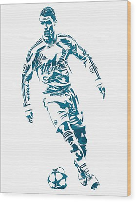 Cristiano Ronaldo Real Madrid Pixel Art 1 Wood Print