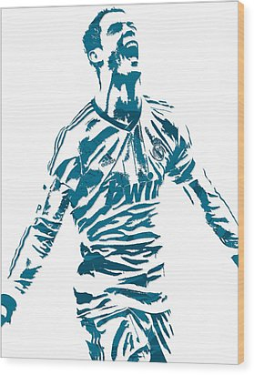 Cristiano Ronaldo Real Madrid Pixel Art 4 Wood Print