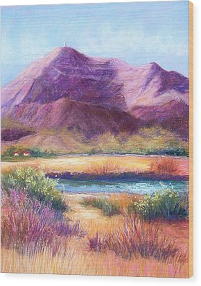 Cristo Rey In Autumn Wood Print by Candy Mayer